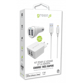 KIT INTELLIGENT & RAPIDE : CHARGEUR SECTEUR 2 USB + VOITURE 2 USB + CABLE LIGHTNING BLANC GREEN-E