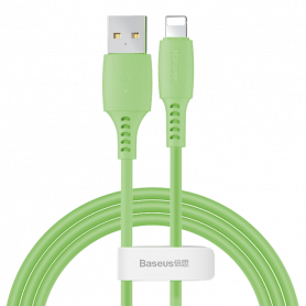 CABLE SILICONE USB VERS LIGHTNING 1.2M VERT - BASEUS