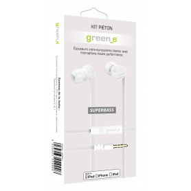 KIT PIETON ECOUTEURS INTRA-AURICULAIRES TELECOMMANDE & MICRO BLANC GREEN-E