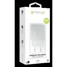 CHARGEUR SECTEUR 2 USB INTELLIGENT ET RAPIDE (2,4A + 1A) BLANC GREEN-E**