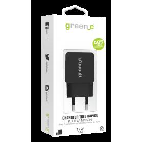 CHARGEUR SECTEUR 2 USB INTELLIGENT ET RAPIDE (2,4A + 1A) NOIR GREEN-E**