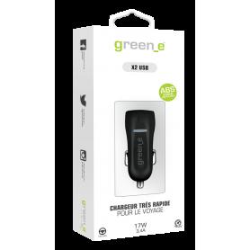 CHARGEUR VOITURE 2 USB INTELLIGENT ET RAPIDE NOIR GREEN-E