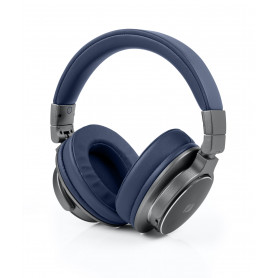 CASQUE BLUETOOTH PREMIUM ASPECT CUIR BLEU + MAINS LIBRES - MUSE