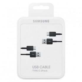 PACK DE 2 CABLES CHARGE ET SYNCHRO USB VERS TYPE-C 1.5M NOIRS ORIGINE SAMSUNG