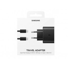PACK CHARGEUR SECTEUR FAST CHARGE 45W + CABLE USB-C VERS TYPE-C NOIRS ORIGINE SAMSUNG