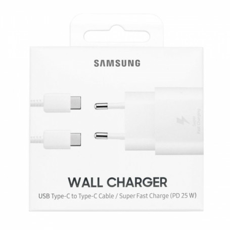 PACK CHARGEUR SECTEUR FAST CHARGE 25W + CABLE USB-C VERS TYPE-C BLANCS ORIGINE SAMSUNG