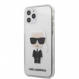 COQUE BI-MATIERE TRANSPARENTE AVEC AVATAR KARL ICONIQUE POUR APPLE IPHONE 12 PRO MAX (6.7) - KARL®