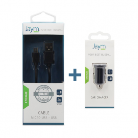 Pack Chargeur voiture 1 USB + Cable Micro USB noirs