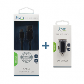 Pack Chargeur voiture 2 USB + Cable Micro USB noirs