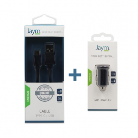 Pack Chargeur voiture 2 USB + Cable Type-C noirs