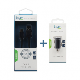 Pack Chargeur voiture 1 USB + Cable Type-C noirs