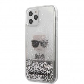 COQUE TRANSPARENTE MOTIF AVATAR KARL AVEC PAILLETTES GRISES POUR APPLE IPHONE 12 PRO MAX (6.7) - KARL®