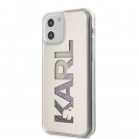 COQUE GRISE AVEC LOGO KARL ET PAILLETTES MULTICOLORES POUR APPLE IPHONE 12 / 12 PRO (6.1) - KARL®
