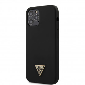 COQUE SILICONE NOIR AVEC TRIANGLE LOGO GUESS POUR APPLE IPHONE 12 PRO MAX (6.7) - GUESS®