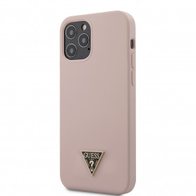 COQUE SILICONE ROSE SABLE AVEC LOGO GUESS POUR APPLE IPHONE 12 / 12 PRO (6.1) - GUESS®