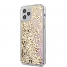 COQUE TPU ROSE DÉGRADÉ A PAILLETTES MOTIF LOGO GUESS DORÉ POUR APPLE IPHONE 12 PRO MAX (6.7) - GUESS®