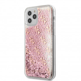 COQUE TPU TRANSPARENTE À PAILLETTES ROSES MOTIF LOGO GUESS DORÉ POUR APPLE IPHONE 12 PRO MAX (6.7) - GUESS®