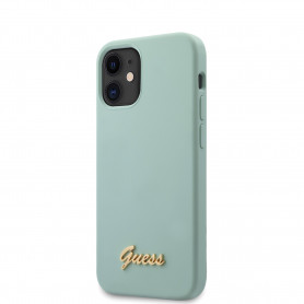 COQUE SILICONE TURQUOISE AVEC LOGO GUESS POUR APPLE IPHONE 12 MINI (5.4) - GUESS®