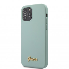 COQUE SILICONE TURQUOISE AVEC LOGO GUESS POUR APPLE IPHONE 12 / 12 PRO (6.1)- GUESS®