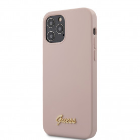 COQUE SILICONE ROSE AVEC LOGO GUESS POUR APPLE IPHONE 12 / 12 PRO (6.1) - GUESS®