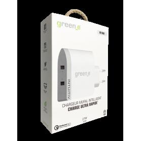 CHARGEUR SECTEUR 2 USB QC 3.0 ULTRA RAPIDE (2,4A + 2,4A) BLANC GREEN-E**