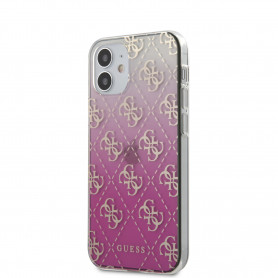 COQUE BI-MATIERE ROSE DÉGRADÉE MOTIF LOGO GUESS DORÉ POUR APPLE IPHONE 12 MINI (5.4) - GUESS®