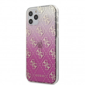 COQUE BI-MATIERE ROSE DÉGRADÉE MOTIF LOGO GUESS DORÉ POUR APPLE IPHONE 12 / 12 PRO (6.1) - GUESS®