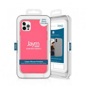 COQUE PREMIUM SILICONE ET MICROFIBRE POUR APPLE IPHONE 12 PRO MAX (6.7) ROSE FLUO - JAYM® CLASSIC®