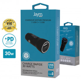 CHARGEUR VOITURE POWER DELIVERY 30W 2xUSB : USB-C 18W + USB-A 12W - GARANTIE A VIE - JAYM®