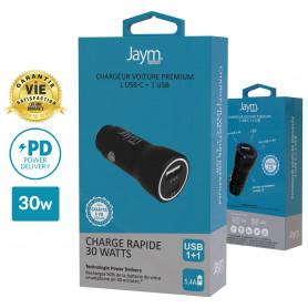 CHARGEUR VOITURE RAPIDE USB-C 30W PD 2 USB : USB-A + USB-C AVEC GARANTIE A VIE - JAYM®