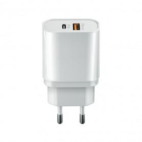 CHARGEUR SECTEUR RAPIDE USB-C 20W PD 2 USB : USB-A + USB-C - BLANC