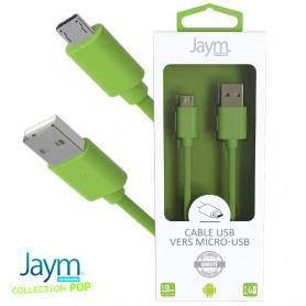 CABLE USB VERS MICRO-USB 1.5M 2.4A VERT - JAYM® COLLECTION POP
