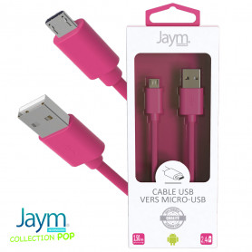 CABLE USB VERS MICRO-USB 1.5M 2.4A ROSE - JAYM® COLLECTION POP