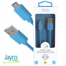 CABLE USB VERS MICRO-USB 1.5M 2.4A BLEU - JAYM® COLLECTION POP