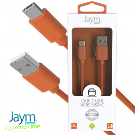 CABLE USB VERS TYPE-C 1.5M 3A ORANGE - JAYM® COLLECTION POP