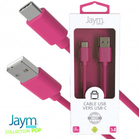 CABLE USB VERS TYPE-C 1.5M 3A ROSE - JAYM® COLLECTION POP