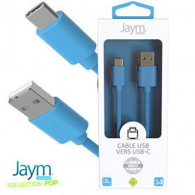 CABLE USB VERS TYPE-C 1.5M 3A BLEU - JAYM® COLLECTION POP