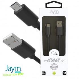 CABLE USB VERS MICRO-USB 1.5M 2.4A NOIR - JAYM® COLLECTION POP
