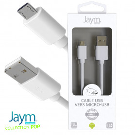 CABLE USB VERS MICRO-USB 1.5M 2.4A BLANC - JAYM® COLLECTION POP
