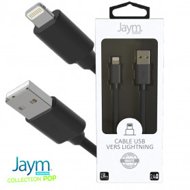 CABLE USB VERS LIGHTNING 1.5M 2.4A NOIR - JAYM® COLLECTION POP