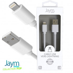 CABLE USB VERS LIGHTNING 1.5M 2.4A BLANC - JAYM® COLLECTION POP