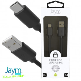 CABLE USB VERS TYPE-C 1.5M 3A NOIR - JAYM® COLLECTION POP
