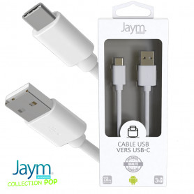 CABLE USB VERS TYPE-C 1.5M 3A BLANC - JAYM® COLLECTION POP