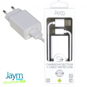 PACK CHARGEUR SECTEUR 1 USB 2.4A + CABLE USB VERS MICRO-USB 1.5M BLANCS - JAYM® COLLECTION POP