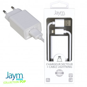 PACK CHARGEUR SECTEUR 1 USB 2.4A + CABLE USB VERS LIGHTNING 1.5M BLANCS - JAYM® COLLECTION POP