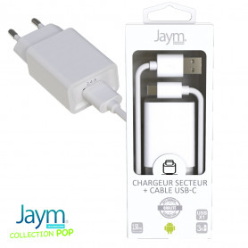 PACK CHARGEUR SECTEUR 1 USB 2.4A + CABLE USB VERS USB-C 1.5M BLANCS - JAYM® COLLECTION POP