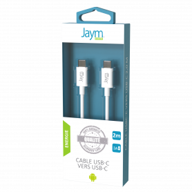 CABLE CHARGE & SYNCHRO POWER DELIVERY USB-C VERS TYPE-C 2M BLANC - JAYM®