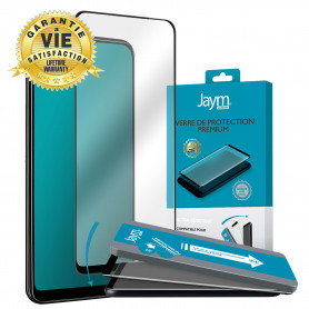 VERRE TREMPE PREMIUM 3D FULL GLUE CONTOUR NOIR AVEC APPLICATEUR POUR APPLE IPHONE 12 / 12 PRO (6.1) - JAYM®
