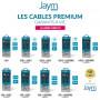 CABLE RENFORCÉ DUPONT™ KEVLAR® TRIPLUG USB VERS LIGHTNING / MICRO-USB / TYPE-C 1,5M - GARANTIE A VIE - JAYM®