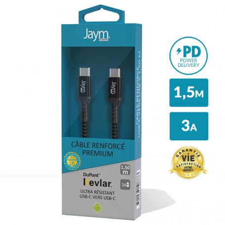 CABLE ULTRA RENFORCÉ POWER DELIVERY USB-C VERS TYPE-C 1,5M - GARANTIE A VIE - JAYM®